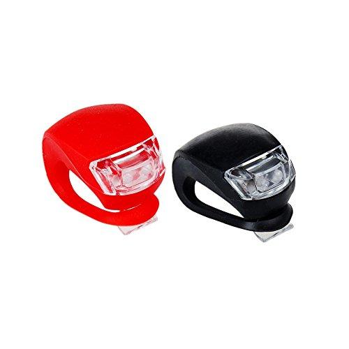 honearn Bike hinten LED-Leuchten Set Silikon Weiß & Rot, 2Stück Clip auf Rücklicht, schwarz / rot