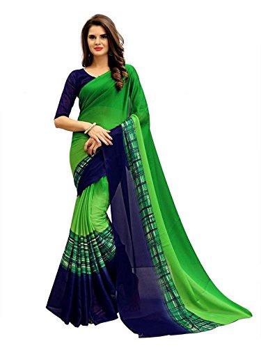 Kamela Saree Georgette Saree With Blouse Piece (_Green_Free Size)