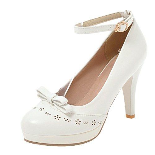 Agodor Damen Riemchen High Heels Pumps mit Schleife und Blockabsatz Plateau Retro Schuhe