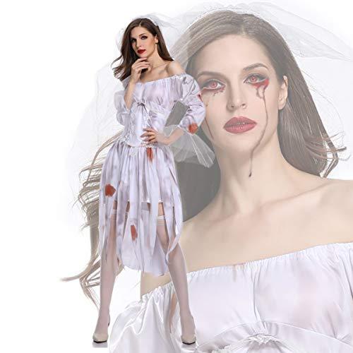Mzq donna halloween cosplay terrore sposa fantasma zombie bar party vampiro irregolare diavolo costume,m