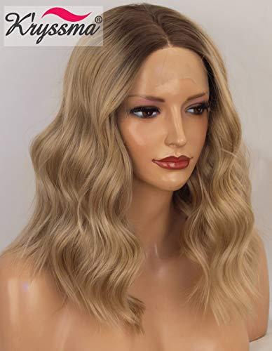 K'ryssma Ombre Blonde Lace-Front Perücke mit dunklen Wurzeln Kurze Bob Kunsthaarperücke für Frauen, lockere blonde, gewellte Perücke, hitzebeständig