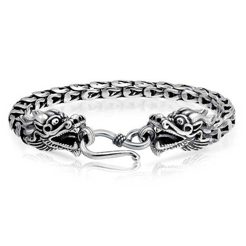 Bling Jewelry Mens Antiqued Sterling Silver Dragon Pulsera estilo Bali