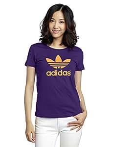 adidas Damen Shirt Trefoil Tee, Eggplant, 32, M30395