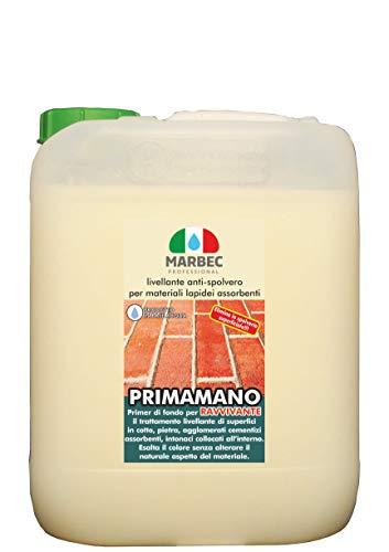 Marbec - PRIMAMANO RAVVIVANTE 5LT | Livellante Anti-spolvero per Materiali lapidei assorbenti