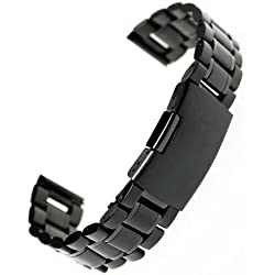 Generic 18mm Stainless Steel Bracelet Watch Band Strap Straight End Solid Links Color Black