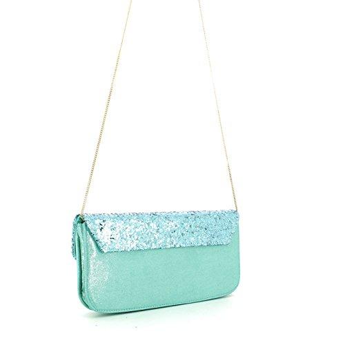 Pochette borsa donna / woman SARA LOPEZ con decorazioni a rilievo bo16312 Turchese