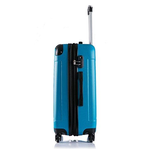 WOLTU RK4205ts Reise Koffer Trolley Hartschale mit erweiterbare Volumen , Reisekoffer Hartschalenkoffer 4 Rollen , M / L / XL / Set , leicht und günstig , Türkis (M, 56 cm & 42 Liter) - 3