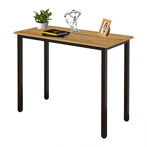 Need Schreibtisch Kleiner Computertisch 80x40cm PC Tisch für Bürotisch Arbeitstisch Esstisch Holz, Teak & Schwarz