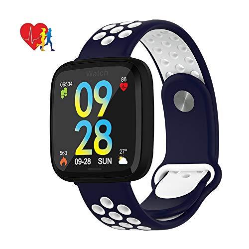 MrRong Fitness Tracker, Aktivitäts-Tracker-Uhr mit Pulsmesser Wasserdichter IP67 Smartwatch-Schrittzähler für iOS und Android,White