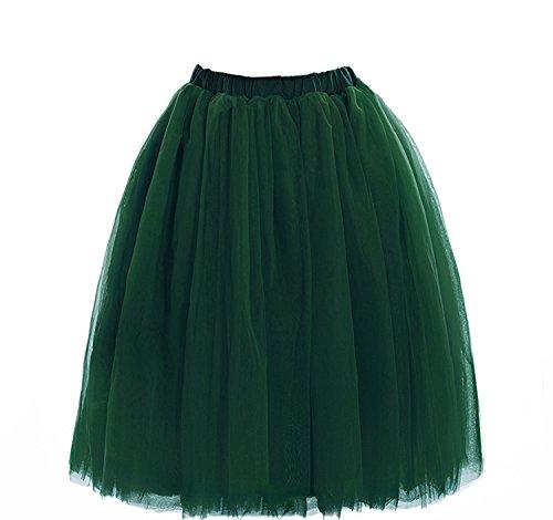 CoutureBridal® Femme Jupe Tutu Courte 5 Couches Elastic Ceinture Princesse Tulle 60cm Vert