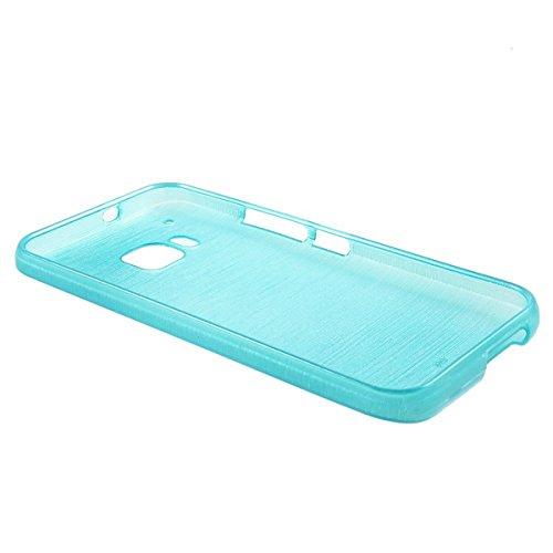 Silikon Schutzhülle für HTC One M9 im Alu Brushed Look in in silber blau