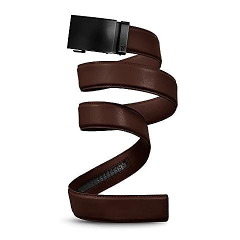 Mission Belt Men's Ratchet Belt - Unobtainium - Swat Black Buckle / Chocolate Brown Leather Strap, Extra Large (39 - 42)