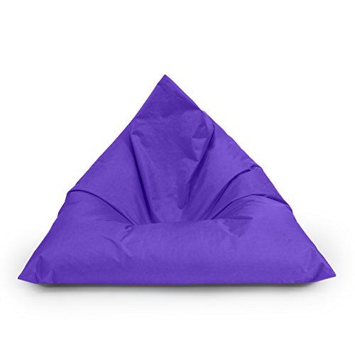 Bubibag pouf triangolare beanbag per interni ed esterni 100 x 70 x 70 cm fino a 160 x 120 x 120 cm con imbottitura in polistirolo in 23 diverse colori, lilla, 100cm x 70cm x 70cm
