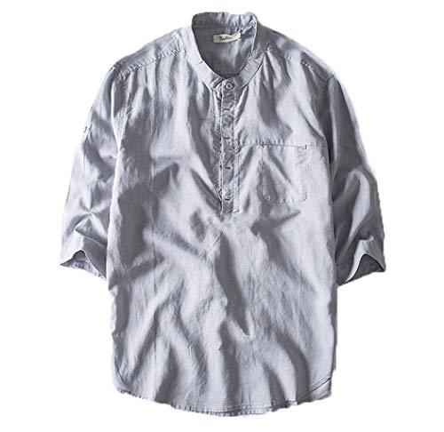 Beikoard Herren Freizeithemd Kurzarm Top Button Baumwolle Leinen Bluse einfarbig lose Bluse Fit Regular Fit Oberteile Sommer Hemd 3/4 Ärmellänge Henley Shirt (Grau, M)