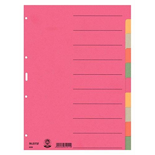 Esselte Leitz Kartonregister Blanko, A4, Karton, 10 Blatt, farbig