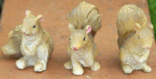 Lot de 3 statues écureuils de jardin de la collection Fiddlehead Fairy