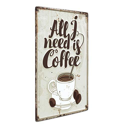 PHOTOLINI Blechschild Vintage Coffee 30x40 cm Küchenschild Metallschild Kaffee-Bild