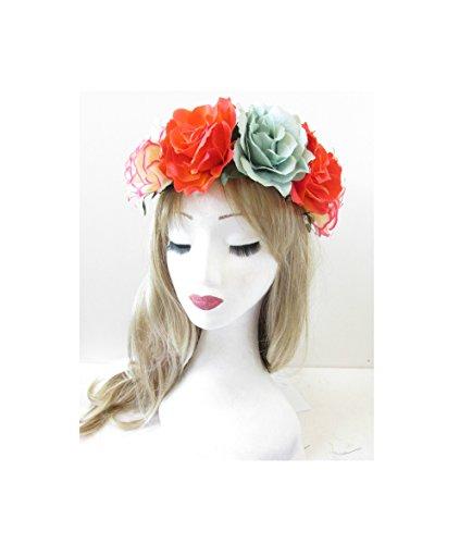 Grand Orange Bleu Guirlande Rose Fleur Bandeau cheveux vintage Festival Couronne S90 * * * * * * * * exclusivement vendu par – Beauté * * * * * * * *