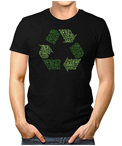 PRILANO Herren Fun T-Shirt - BIKE-RECYCLING - Small bis 5XL - NEU Schwarz