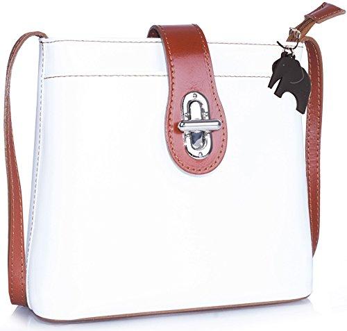 Borsetta piccola a tracolla in vera pelle italiana di Big Handbag Shop White - Tan Trim (SD981)
