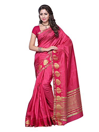 Mimosa Women's Tassar Silk Saree (3032-Strawberry_Strawberry)  available at amazon for Rs.899