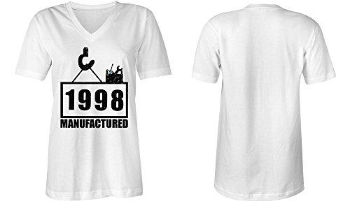 Manufactured 1998 - V-Neck T-Shirt Frauen-Damen - hochwertig bedruckt mit lustigem Spruch - Die perfekte Geschenk-Idee (02) weiss