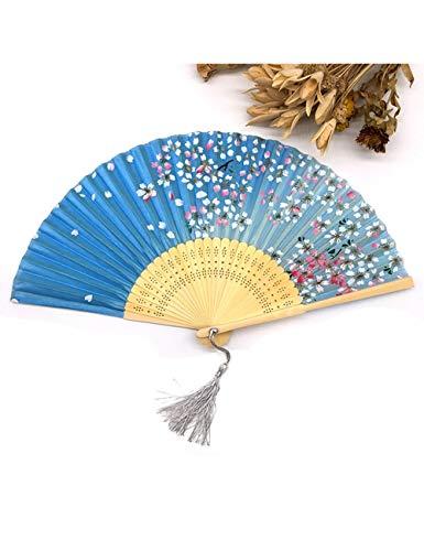 ATLD Fächer Handfächer Charming Floral Print Pocket Fan Bambus Seide Hand Fan Weihnachten Kraft -