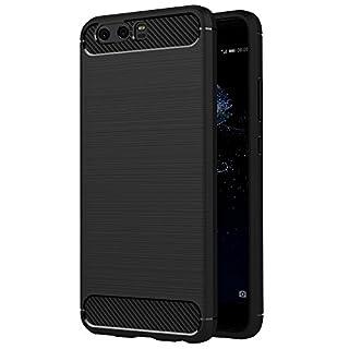 Huawei P10 Hülle, AICEK Schwarz Silikon Handyhülle für Huawei P10 Schutzhülle Karbon Optik Soft Case