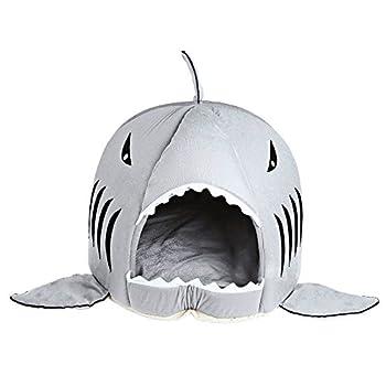 Home Holic Coussins pour Chien Coussins Chats Panier Chien Matelas pour Animaux Mignon Requin Bouche Teddy Pet Chien Chat Chambre Maison Chiot Chaud Coussin Kennel (S, Gris)
