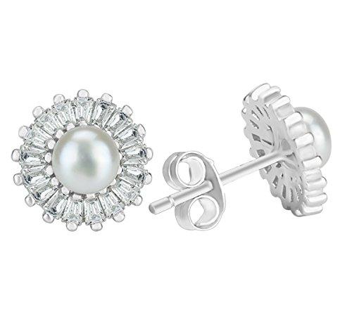 Orecchini di perle Freshewater 925Stering argento ciondolo perla naturale orecchini per (Wedding Pearl Tema)