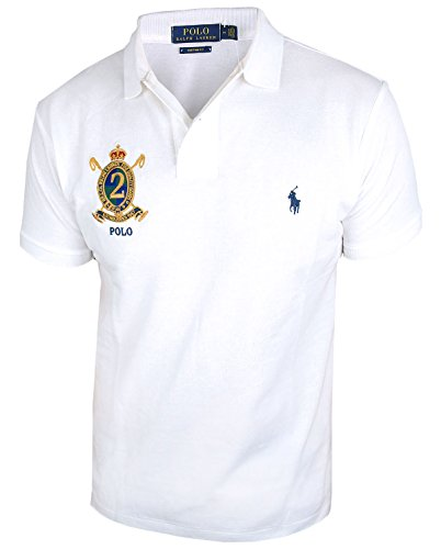 RALPH LAUREN Herren kurzarm Poloshirt Custom Fit SSL-KNT (M, white) (Mesh-polo Big Pony)