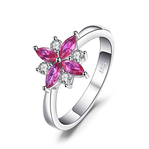JewelryPalace Flowers 0.85ct Erstellt Ruby Statement Ring 928 Sterling Silber