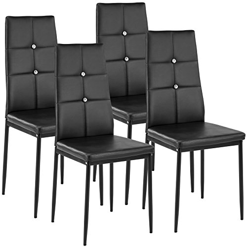 TecTake Set of 4 Dining Chairs 40x42x97cm | – different colours and quantities – (4x black | no. 402545)