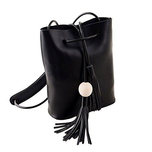 GSPStyle Damen Canvas Schultertasche Mädchen Damentasche Elegante Cross Body Handtasche Schwarz