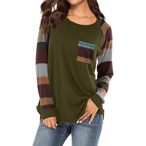 Damen Gestreiftes Shirt Taschen Drucken O-Ausschnitt-Design Kurzarm Bluse