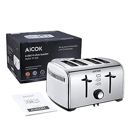 Aicok-Toaster-Edelstahl-Toaster-mit-Abnehmbarer-Krmelschublade-1700-Watt-bis-zu-4-Brotscheiben-und-7-Brunungsstufen-glatter-Edelstahl-Silber