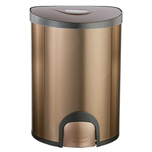 LF DD Intelligenter Abfall-elektronische Noten-Haushalts-Clamshell-elektrischer Edelstahl-kreative Speichereimer (QDT-15-6 Verpackung von 1) (Farbe : Champagner - - Kompost-elektrisch