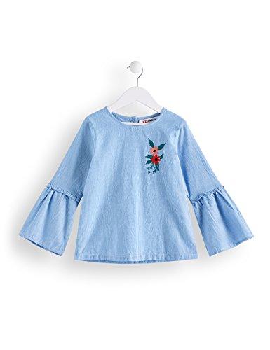 RED WAGON Mädchen Bluse mit Glockenärmeln, Blau (Sky Blue), 104 (Herstellergröße: 4 Jahre)
