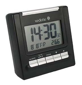 Vedette - VR30022 - Réveil - Quartz LCD - Noir - Radio Piloté - Sonnerie Progressive - Multifonctions - Alarme Répétition