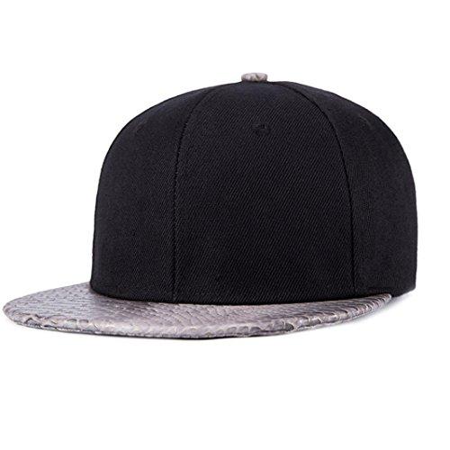 Ouneed® fashion Baseball Cap Boys Girls Snapback Hip Hop Flat Hat White-homme femme Argent