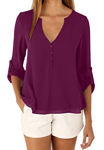 OMZIN Damen Einfarbig Chiffon Tops Bluse Damen Lose Langarm V-Ausschnitt Knöpfe Decor Asymmetrisch Shirts Tops Violett XL