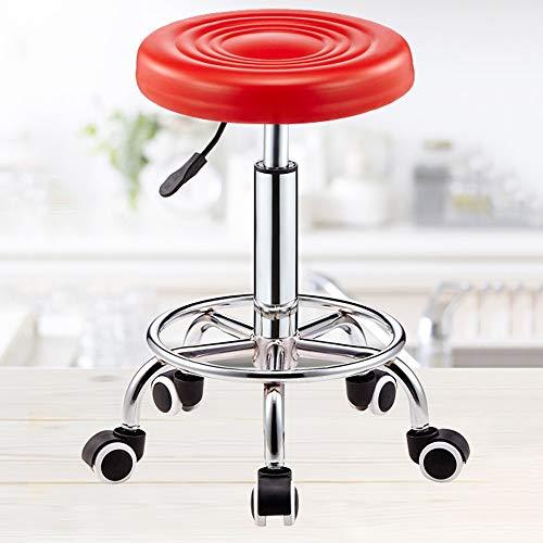 QGHLW Barhocker Schönheit Stuhl Rotating Hebe Hocker Explosionsgeschützte Hocker Haarschneider Bench Hair Salon Drehtisch Rund Sliding Rollstuhl 360 drehHebe Hocker (Farbe: A) (Color : Rot) -