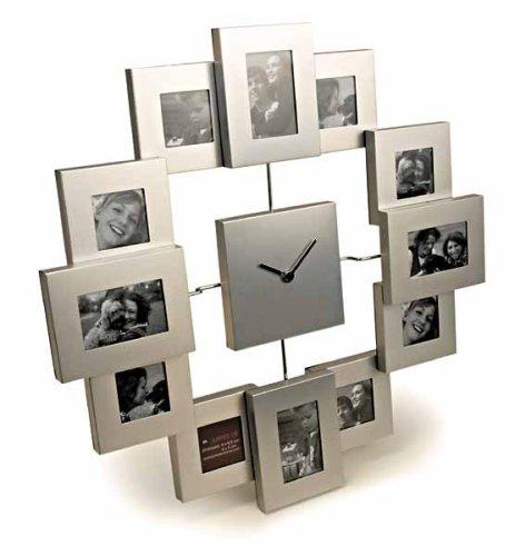 fotorahmen uhr moderne Aluminium Wanduhr mit  12 Bilderrahmen, Freundschaftsuhr  von Out of the blue