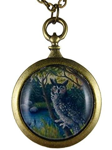 Kette Halskette messingfarben Vintage Taschenuhr Silhouette Eule auf Baum Uhu 786