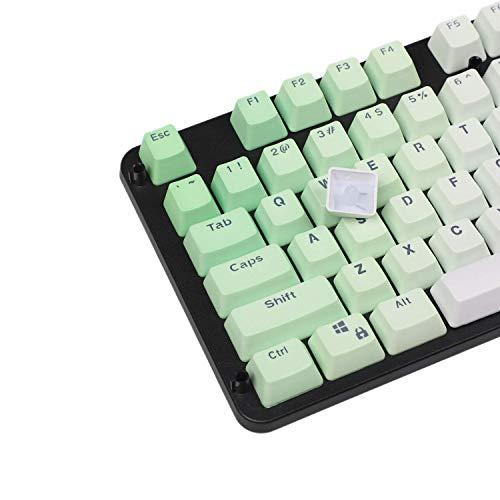 LZY Double Shot 104 Dyed Pbt Shine durch Keyset Oem Profil Keycap Set Cherry Mx Switches Mechanische Tastatur 104 87 61, Grün Weiß Farbverlauf,Grün Weiß,