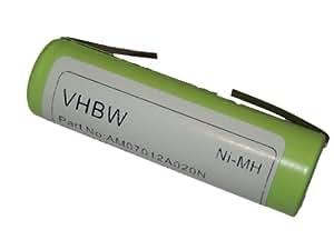 vhbw Batterie Ni-MH 2000mAh (1.2V) pour rasoir Remington, Ermila, Wahl, Panasonic, Moser, Braun Silk Epil, Onys Aesculap, etc. comme Remington 1.2V.