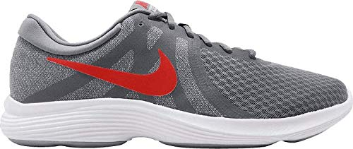 NIKE Men's Revolution 4 Cool Grey/Habanero Red – Wolf Grey – White Running Shoes 908988-013