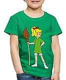 Spreadshirt Bibi Blocksberg Mit Ihrem Besen Kartoffelbrei Kinder Premium T-Shirt, 110/116 (4 Jahre), Kelly Green