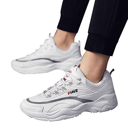 JiaMeng Zapatos para Correr En Montaña Asfalto Deportes Zapatillas Zapatos de Malla al Aire Libre de Encaje Informal hasta Soles cómodos Zapatillas Deportivas Hombre (Blanco 2, EU40.5=CN41)