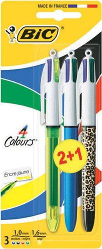 BIC Stylo bille 4 couleurs fluo + 4 couleurs leopard + 4 couleurs